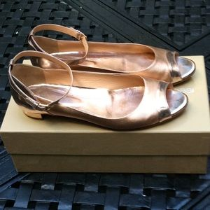 Sergio Rossi rose ankle flats size 38.5